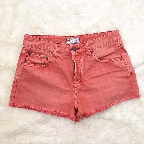 Free People Pants - Free People   coral/melon denim cutoff shorts